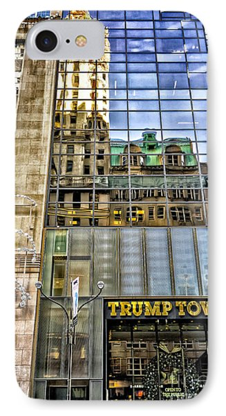 IPhone Case featuring the photograph Trump Tower With Reflections by Walt Foegelle