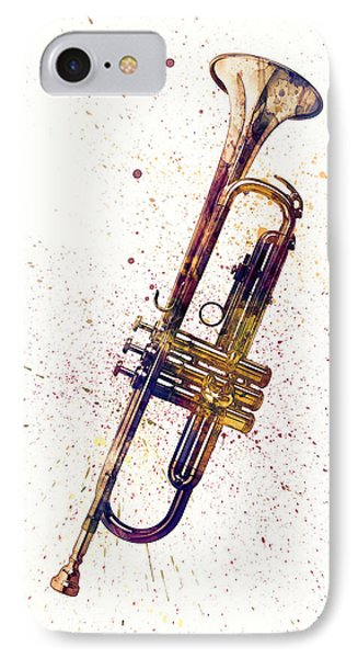 Trumpet iPhone 7 Case - Trumpet Abstract Watercolor by Michael Tompsett