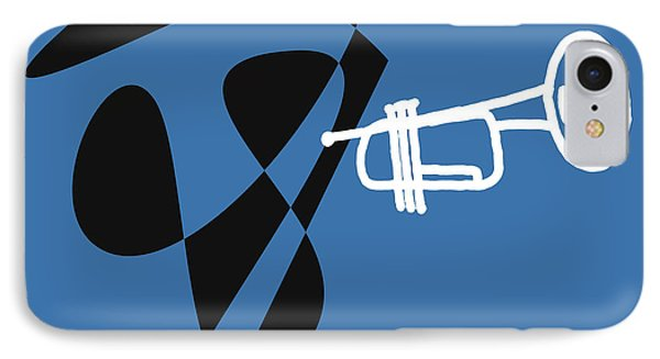 IPhone Case featuring the digital art Trumpet In Blue by Jazz DaBri