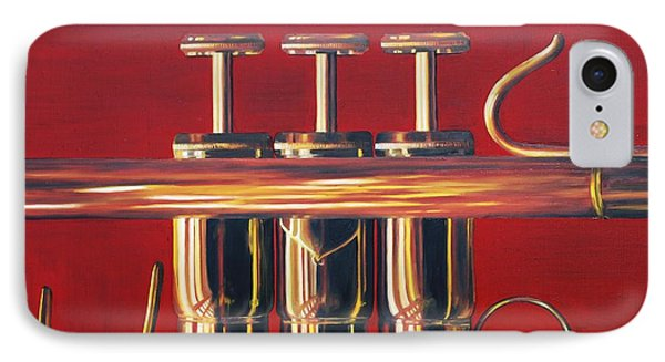 Trumpet In Red Phone Case by Emily Page