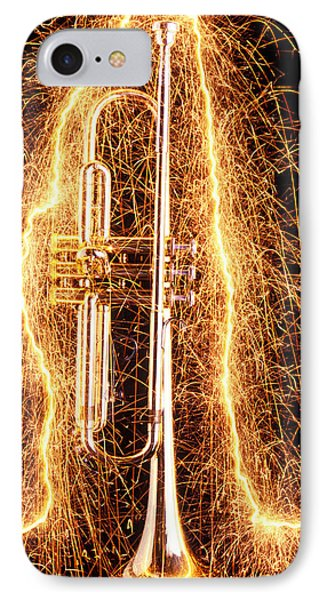 Trumpet iPhone 7 Case - Trumpet Outlined With Sparks by Garry Gay