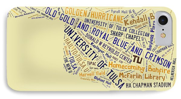 Tu Word Art University Of Tulsa IPhone Case by Roberta Peake