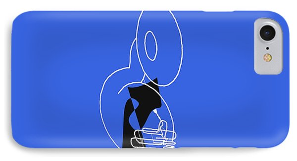 Tuba In Blue IPhone Case by David Bridburg