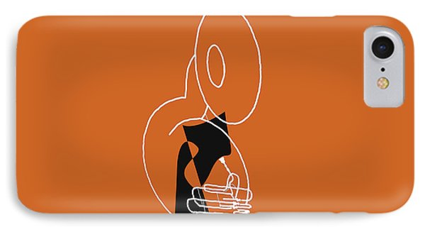 Tuba In Orange IPhone Case by David Bridburg