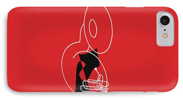 Tuba In Red IPhone Case by David Bridburg