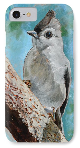 Tufted Titmouse #1 IPhone Case by Amber Foote