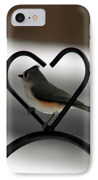 Tufted Titmouse In A Heart IPhone Case by George Jones