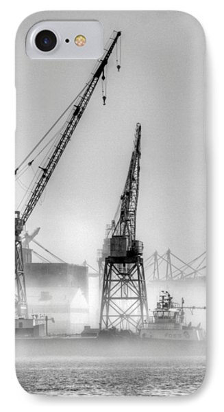 Tug With Cranes IPhone Case by Joe Schofield