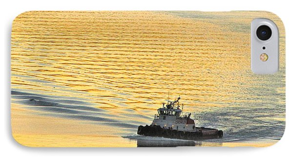 Tugboat At Sunset IPhone Case by Sean Griffin