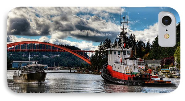 Tugboat At The Rainbow Bridge IPhone 7 Case by David Patterson