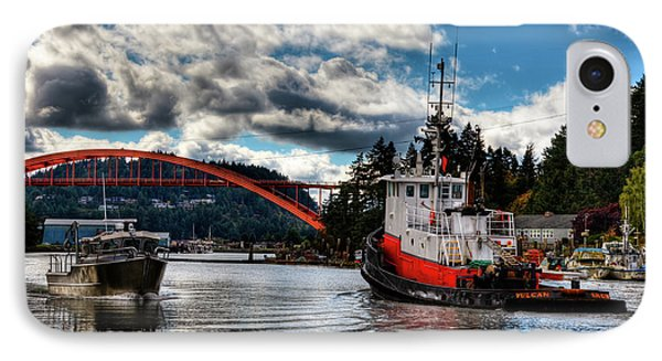Tugboat At The Rainbow Bridge IPhone Case by David Patterson