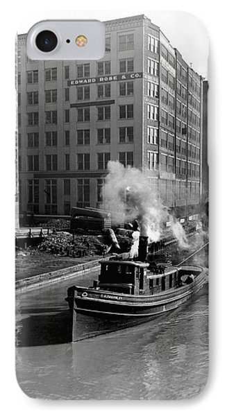 Tugboat In Chicago IPhone Case by Underwood Archives