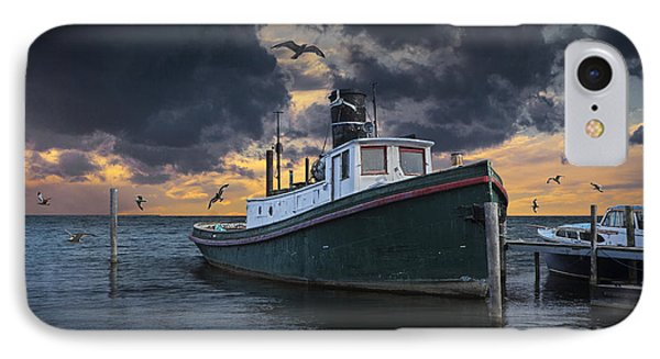 Tugboat In The Harbor With Flying Gulls IPhone Case by Randall Nyhof