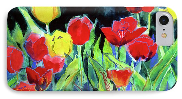 IPhone Case featuring the painting Tulip Bed At Dark by Kathy Braud