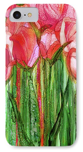 Tulip Bloomies 2 - Red IPhone Case by Carol Cavalaris