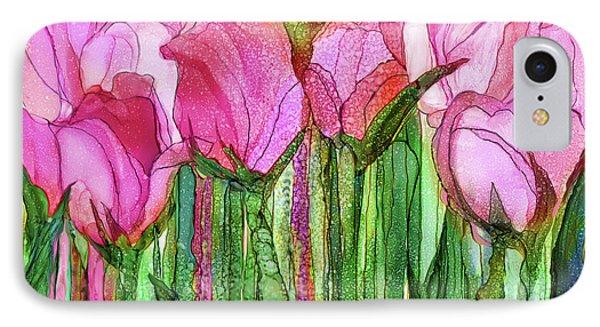 Tulip Bloomies 3 - Pink IPhone Case by Carol Cavalaris