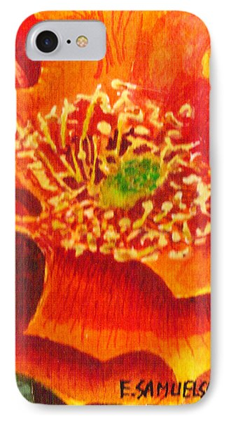 IPhone Case featuring the painting Tulip Prickly Pear by Eric Samuelson
