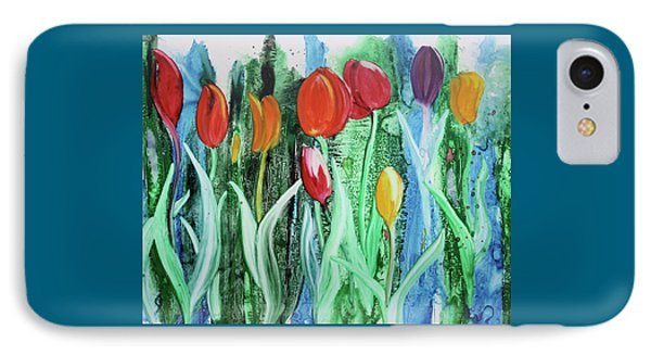 IPhone Case featuring the painting Tulip Season by Nancy Jolley