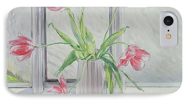 Tulips Against Moving Water IPhone Case by Timothy Easton