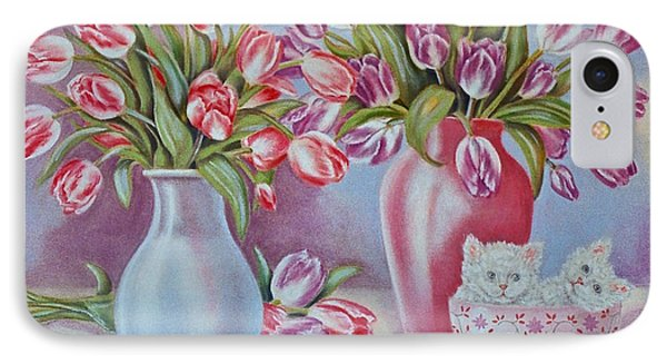 Tulips And Kittens Phone Case by Jan Law