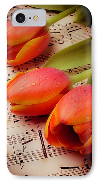 Tulips And Music Notes IPhone Case by Garry Gay
