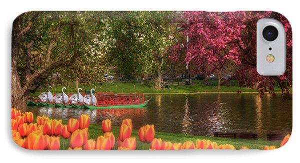 Tulips And Swan Boats In The Boston Public Garden IPhone Case by Joann Vitali