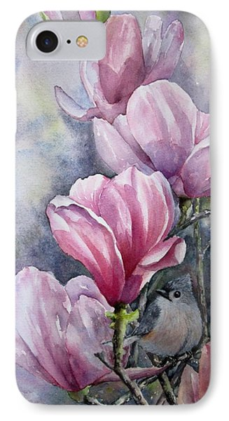 Tulips And Titmouse IPhone Case by Mary McCullah