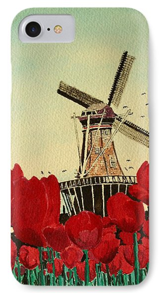 Tulips And Windmill IPhone Case by Diane Merkle