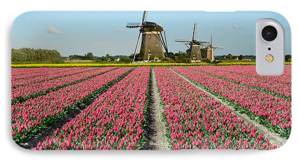 Tulips And Windmills In Holland IPhone Case by IPics Photography