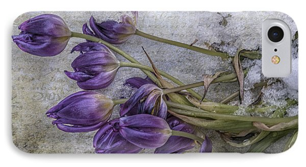 IPhone Case featuring the mixed media Tulips Frozen by Terry Rowe