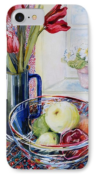 Tulips In A Jug With A Glass Bowl IPhone Case by Joan Thewsey