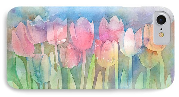 Tulips In A Row IPhone Case by Arline Wagner