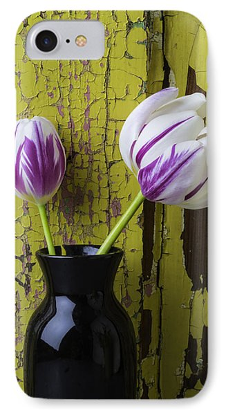 Tulips In Black Vase IPhone Case by Garry Gay