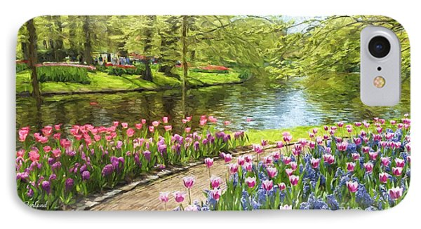 Tulips In Bloom At The Park  IPhone Case by Garland Johnson