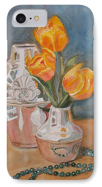 Tulips Jade And Books Phone Case by Jenny Armitage