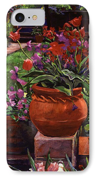 Tulips, Violas And Wallflowers IPhone Case by David Lloyd Glover