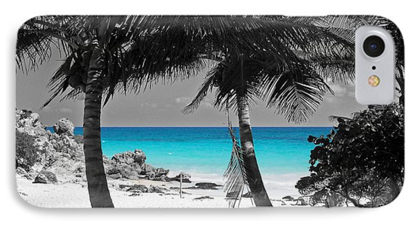 IPhone Case featuring the digital art Tulum Mexico Beach Color Splash Black And White by Shawn O'Brien