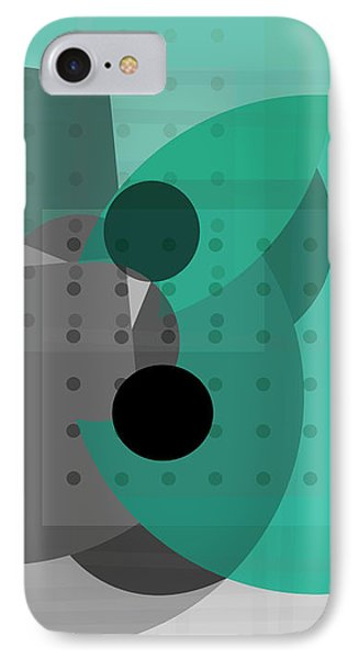 Turquoise And Gray Abstract Art IPhone Case by Ann Powell