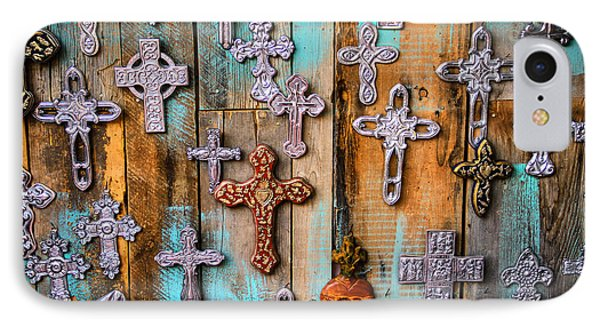 Turquoise And Crosses IPhone Case by Juli Ellen