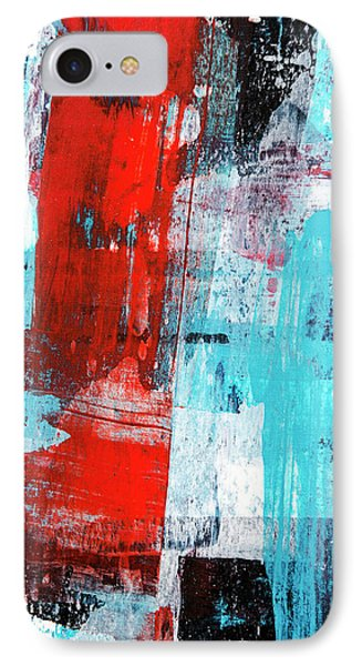IPhone Case featuring the painting Turquoise And Red Abstract Painting by Christina Rollo