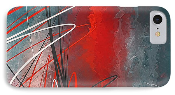 Turquoise And Red Modern Abstract IPhone Case by Lourry Legarde