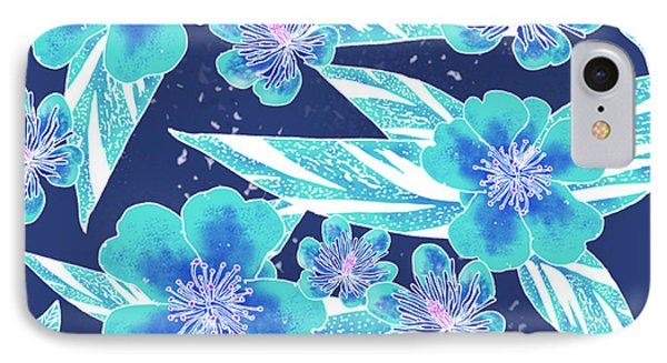 Turquoise Batik Camellias And Ginger Large IPhone Case