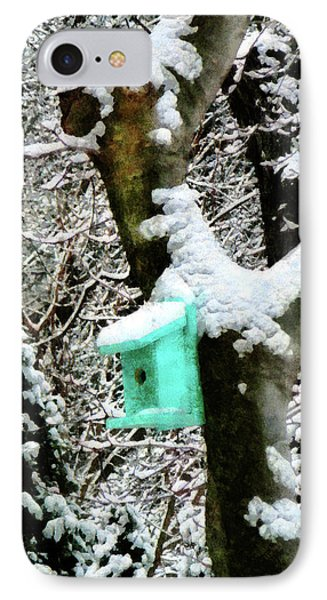 Turquoise Birdhouse In Winter Phone Case by Susan Savad