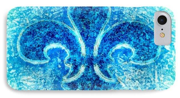 Turquoise Bleu Fleur De Lys Phone Case by Janine Riley