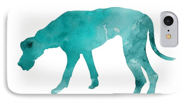 Turquoise Great Dane Watercolor Art Print Paitning IPhone 7 Case by Joanna Szmerdt
