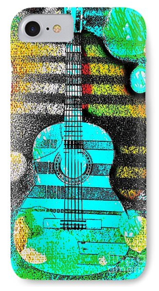 Turquoise Guitar By Jasna Gopic IPhone Case by Jasna Gopic