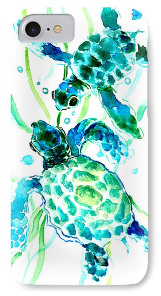 Turquoise Indigo Sea Turtles IPhone Case