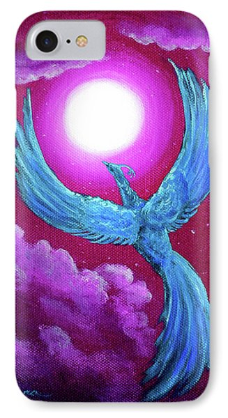 Turquoise Moon Phoenix IPhone Case by Laura Iverson