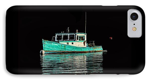 Turquoise Lobster Boat At Mooring IPhone Case