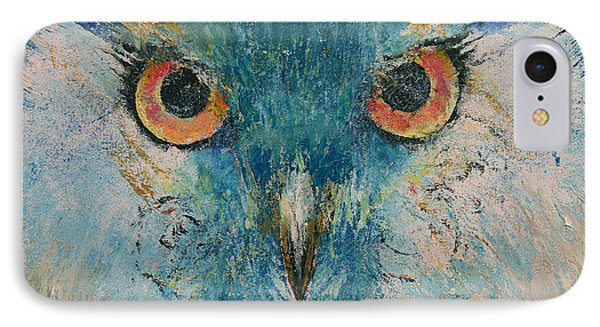 Turquoise Owl IPhone Case by Michael Creese